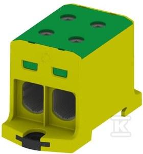 Złączka szynowa gwintowa rozgałęźna AL, CU, 35-240mm2, TS 35, 1 tor, 4 otwory zaciskowe, żółto-zielony, VC05-0039