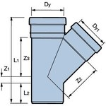 Trójnik PVC 250x250x160/45 kl.S - 3042489