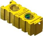 AQUAFIX 10PE, SKmPPE 03/0300, polietylenowy separator koalescencyjny z osadnikiem i komorą pomp, przepust. maks. 3 l/s, poj. os. 300 l, króćce z PE