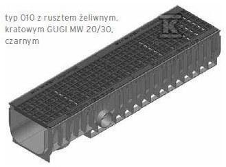 RECYFIX STANDARD 200, korytko typ 010, z rusztem żel., krat. GUGI MW 15/25, kl. C 250