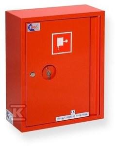 Hydrant wewnętrzny na wąż płasko składany fi 52 (pożarniczy wąż tłoczny) 20 mb z koszem, zawieszany (natynkowy), uniwersalny, zasilanie obustronne, zamek: patentowy
