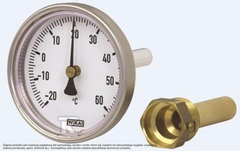 Termometr bimetaliczny model A50.20, średnica 100 mm, wyjście tylne, zakres 0…160 st. C, długość czujnika L=40, gwint G1/2