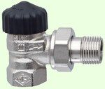 Zawór termostatyczny standard DN15 brąz niklowany, kapa czarna, kątowy