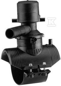 Obejma do nawiercania elektrooporowa, DN280X63 PE100, SDR11, PN10 gaz/PN16 woda, z obrotowym (360 stopni) odejściem, z elektrokołpakiem