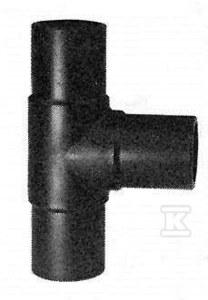 Trójnik doczołowy długi 90ST. LS dn560 PE100, SDR11, PN10 gaz/PN16 woda, równoprzelotowy, zgrzewany segmentowo, wzmocniona konstrukcja pozwala na pominięcie wsp. redukcji ciśnienia