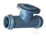 Trójnik ciśnieniowy kielichowy PVC 90x80/90 PN10 ANP (z luźnym kołnierzem i uszczelką) popiel