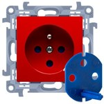 Gniazdo DATA z kluczem uprawniającym (moduł) 16A, 250V~, zaciski śrubowr czerwony Simon10