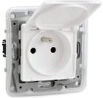 Gniazdo 2P+Z IP44, klapka, zaciski śrubowe, przesłona, biały NILOE