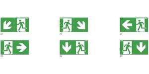 125x250 piktogram 22 ukośna strzałka góra/dół chłopek w drzwiach logo awex (ISO7010) Nr.kat.: PS22
