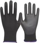 Rękawice szare poliestrowe z powłoką poliuretanową na stronie chwytnej i końcach palców, strona wierzchnia oddychająca, roz. 9