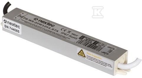 Zasilacz LED wodoodporny SLIM IP67 12V 1,67A 20W