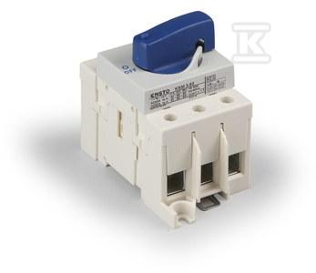 Rozłącznik 3x100A z niebieskim pokrętłem, montaż na DIN 35 lub płycie KSM3.100