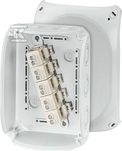 Puszka do instalacji zewnętrznej, szara, IP 66/67, 180X130X77, z zaciskami 5-biegunowa, 10 mm2, Cu.
