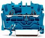 Złączka 2-przewodowa przelotowa 2,5 mm² do zastosowań Ex e II oraz Ex i opis z boku i na środku na szynę TS 35 x 15 i 35 x 7,5 Push-in CAGE CLAMP® 2,50 mm² niebieski