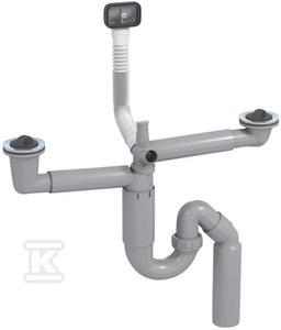 Syfon P-LOC zlewozmywakowy, teleskopowy, rurowy, podwójny, przyłącze do zmywarki, przyłącze do przelewu, korki gumowe, podłączenie do ściany 40/52