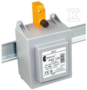 Transformator jednofazowy PSZ 200 230/ 12V IP30 na szynę DIN TH-35 w obudowie modułowej z zabezpieczeniem
