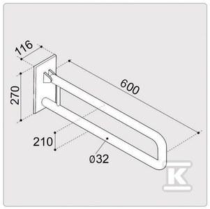 Poręcz ERGOPLUS podnoszona 60cm do wc/umywalek, malowana proszkowo, biała