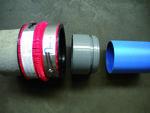 VPC- Złącze elastyczne do rury betonowej okrągłej DN 150 z rurą z tworzywa sztucznego DN/OD 150 z pomocą adaptera z tworzywa sztucznego, zakres śreDN ic zewnętrznych: 183-226 mm
