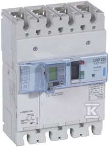 Wyłącznik mocy z wyzwalaczem elektronicznym z wbudowanym zabezpieczeniem różnicowoprądowym z funkcją pomiarów DPX3 250EL+P+BL.R 4P 250A 70KA